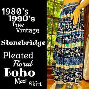 🆕VTG▪️STONEBRIDGE▪️Pleated Foral Boho Maxi Skirt